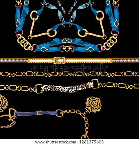 Belts design, gold chains, fashion accessories