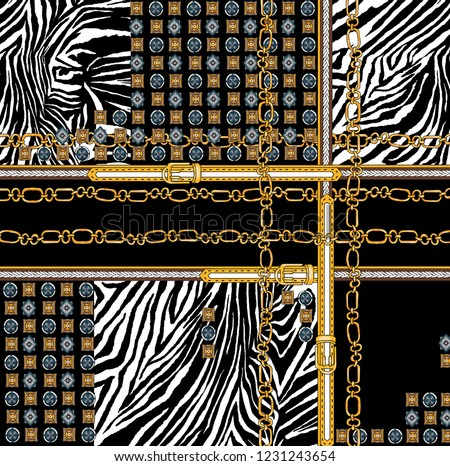 Belts with chain and zebra pattern