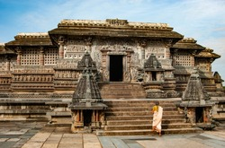 Belur Ancient Temple with devotee View at Karnataka India