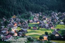 belvedere, evening, gassho-style, historic, picturesque, scenery, Shirakawago, UNESCO, village, world-herritage,