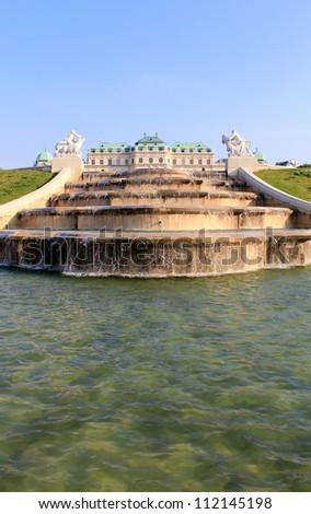 Belvedere Palace fountain and garden, Vienna, Austria.