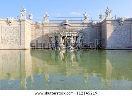 Belvedere Palace fountain and garden, Vienna, Austria.