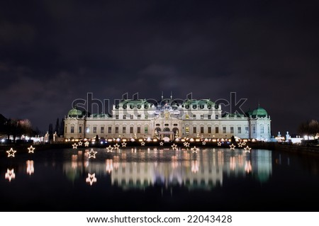 Belvedere palace in the night  in Vienna, Austria