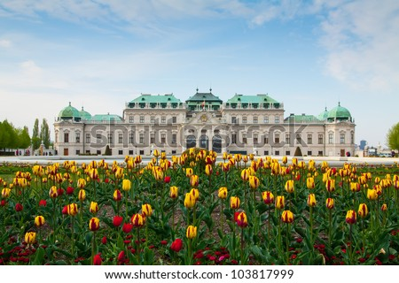 Belvedere palace Vienna Austria with spring flowers