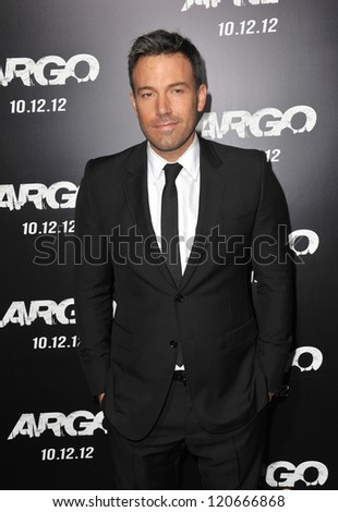 "Ben Affleck at the Los Angeles premiere of his movie ""Argo"" at the Samuel Goldwyn Theatre, Beverly Hills. October 4, 2012  Beverly Hills, CA Picture: Paul Smith"