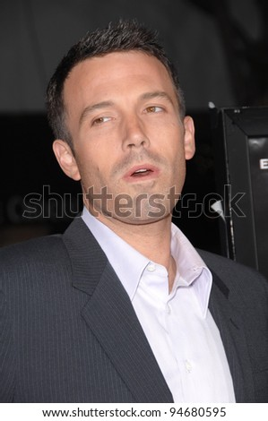 "Ben Affleck at the Los Angeles premiere of his new movie ""Gone Baby Gone"" which marks his directorial debut. October 9, 2007  Los Angeles, CA Picture: Paul Smith / Featureflash - stock photo"