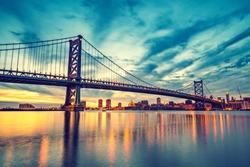Ben Franklin Bridge in Philadelphia at sunset.