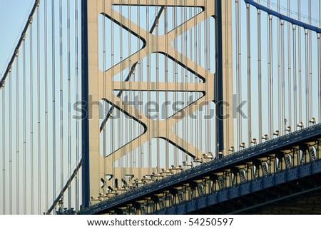 Ben Franklin bridge tower in Philadelphia Pennsylvania.