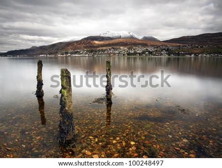 Ben Nevis and Fort William reflecting on Loch Linnhe from Trislaig.