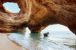 Benagil Cave, Algarve, Portugal. Ocean in the grotto