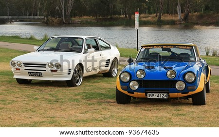 BENALLA, AUSTRALIA - JANUARY 21:Fiat 124 Spider Abarth Group 4 Replica rally car and 1986 Giocattolo Group B modified Alfa Romeo Sprint at the Australian Fiat Nationals on January 21, 2012 in Benalla.