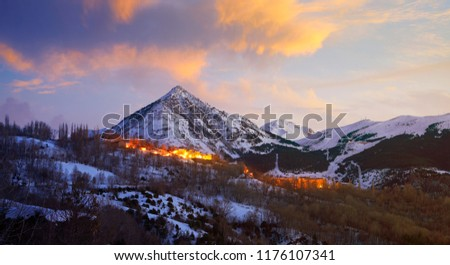 Benasque village Benas sunset aerial view in Huesca Pyrenees of Spain #1176107341