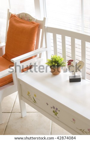 Bench and Chair decorated in country style
