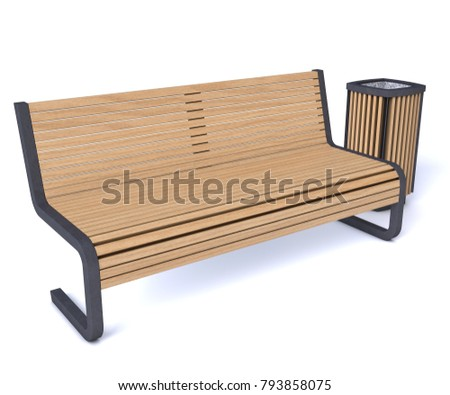 """Bench and urn """"3D rendering"""" #793858075"""
