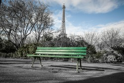 Bench in front of the Eiffel Tower
