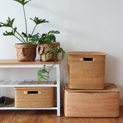 bench industrial with rattan box all size