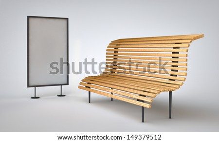 Bench made ??of wood next to a billboard