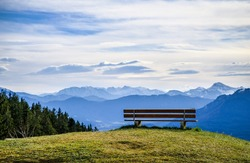 bench on the blomberg mountain in bavaria