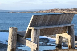 bench overlooking the ocean at Peggy's Cove