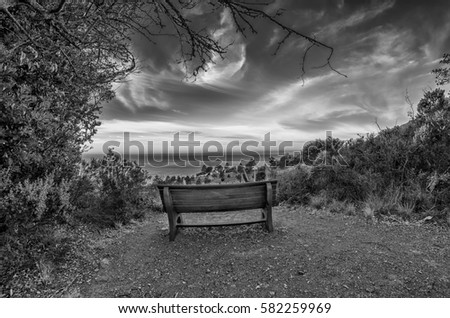 Bench Overlooking the Pacific Ocean and blue sky at sunset in the Big Sur area of California in Black and White #582259969