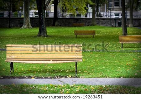 Bench park in autumn