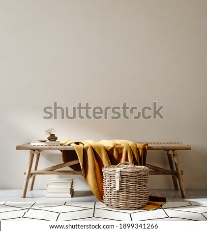 Bench with decor close up in home interior background, wall mock up, 3d render Сток-фото ©