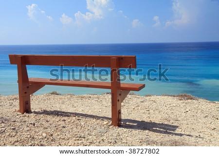 Bench with sea view in Cyprus near Petra Tou Romiou (Rock Of Aphrodite)