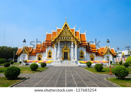 benchamabophit temple is the 1in9 temple landmark of bangkok. (thailand)