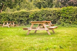 Benches and tables for outdoor dining