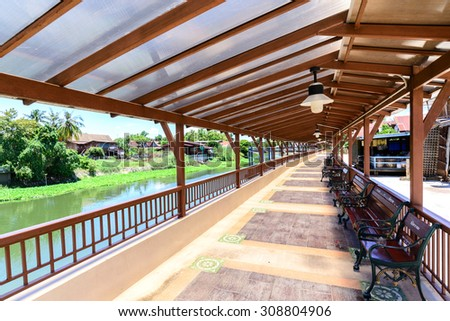 Benches and walkway for relaxation  riverside. - Shutterstock ID 308804906