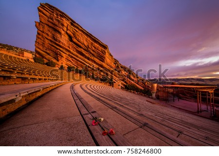 benches at red rocks amphitheater in denver colorado with carnation flowers  #758246800