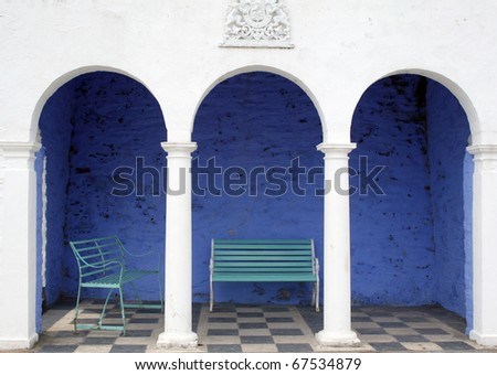 Benches by Portmeirion hotel