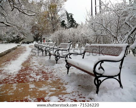 Benches with snow in Sofia, Bulgaria