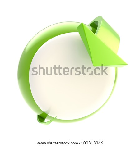 Bend arrow point to circular green glossy button isolated on white