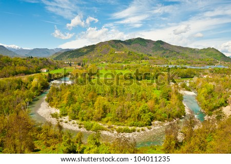 Bend of the River at the Foothills of Italian Alps, Piedmont