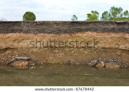 Beneath the asphalt. Layer of soil beneath the asphalt road. Stock photo ©