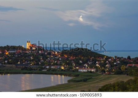 Benedictine Abbey of Tihany with the inner lake and Lake Balaton at twilight in Hungary