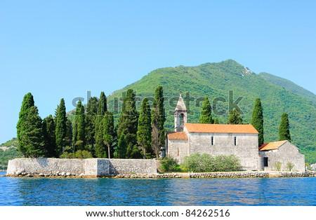 Benedictine monastery on the island in Perast (Montenegro)
