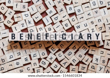 Beneficiary word concept on cubes for articles Foto stock ©