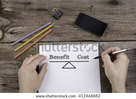 Benefit Cost Balance. Text on a sheet of paper.