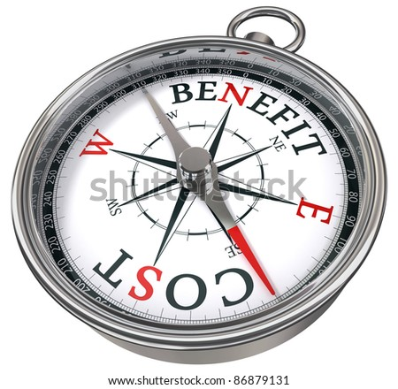 benefit cost concept compass isolated on white background