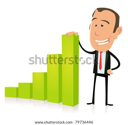 Benefits Bar Graph/ Illustration of a happy cartoon businessman, before subprimes crisis