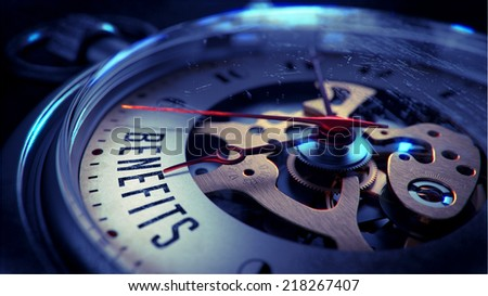 Benefits on Pocket Watch Face with Close View of Watch Mechanism. Time Concept. Vintage Effect.