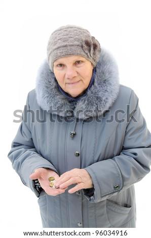benevolent old woman portrait with money