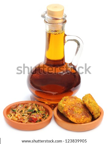 Bengali Cuisine � Mustard onion salad and lentil chop with mustard oil