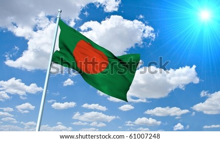 Bengali Flag in front of vivid, sunny, cloudy sky