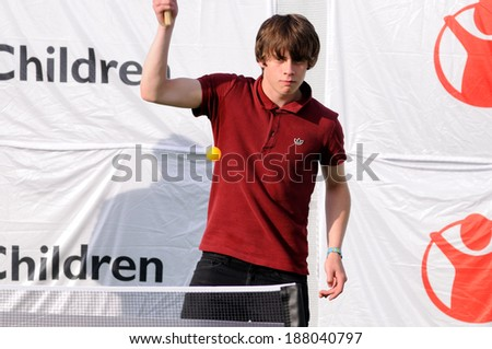 BENICASIM, SPAIN - JULY 21: Jake Bugg plays table tennis, or ping pong, on the backstage at FIB (Festival Internacional de Benicassim) 2013 Festival on July  21, 2013 in Benicasim, Spain.