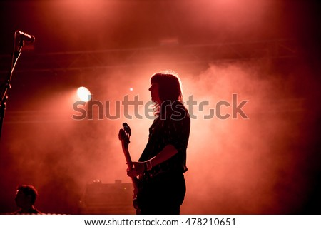 BENICASSIM, SPAIN - JUL 15: Band of Skulls (rock band) perform in concert at FIB Festival on July 15, 2016 in Benicassim, Spain. #478210651