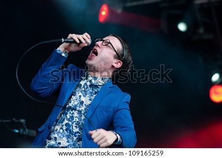 BENICASSIM, SPAIN - JULY 15: Spector band performs at FIB on July 15, 2012 in Benicassim, Spain. Festival Internacional de Benicassim.
