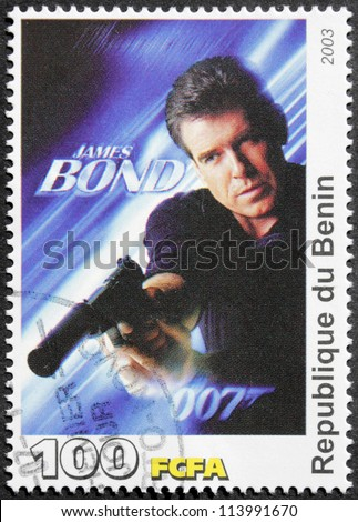 "BENIN - CIRCA 2003: A postage stamp printed by Benin shows Irish actor Pierce Brosnan starring in the film ""Die Another Day"", circa 2003"